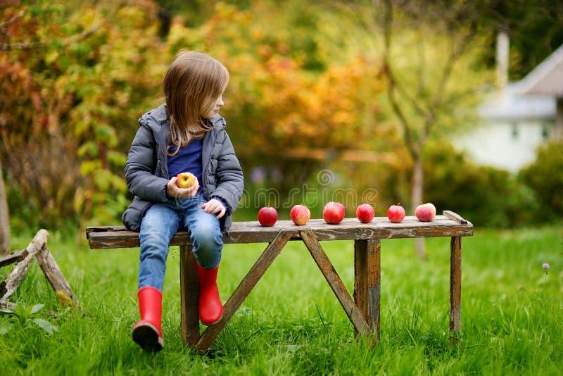Niña que se sienta en un banco de madera el otoño fotografía de archivo libre de regalías