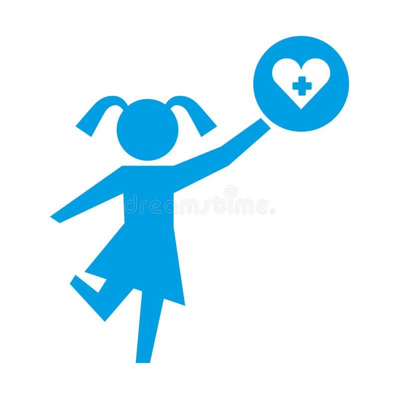 Niña que sostiene el pictograma de la atención sanitaria del corazón ilustración del vector