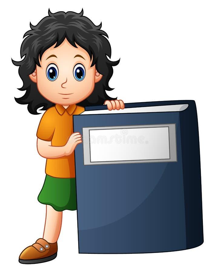 Niña que sostiene un libro grande stock de ilustración