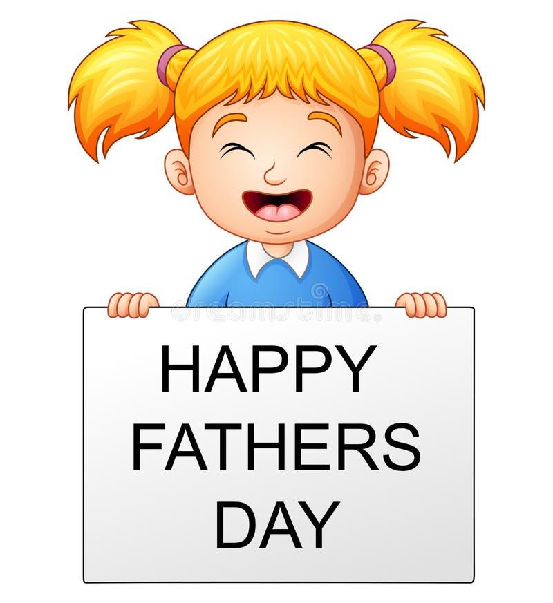 Niña que sostiene una bandera con día de padres feliz del texto ilustración del vector