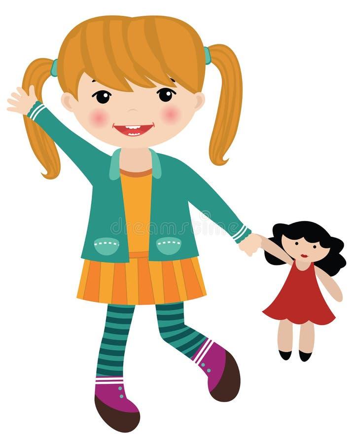 Niña que sostiene una muñeca libre illustration