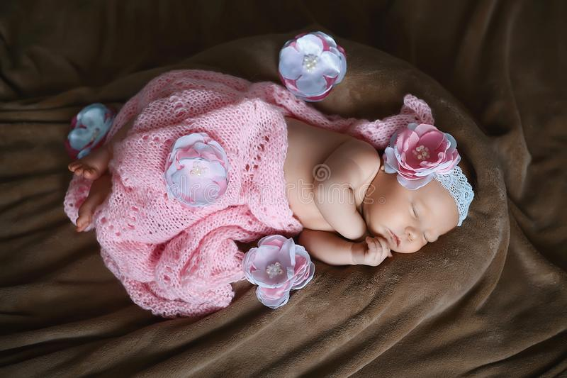Niña recién nacida que duerme jabón, bufanda rosada suave cubierta con la flor de satén del cordón, doblada suavemente bajo peque fotografía de archivo