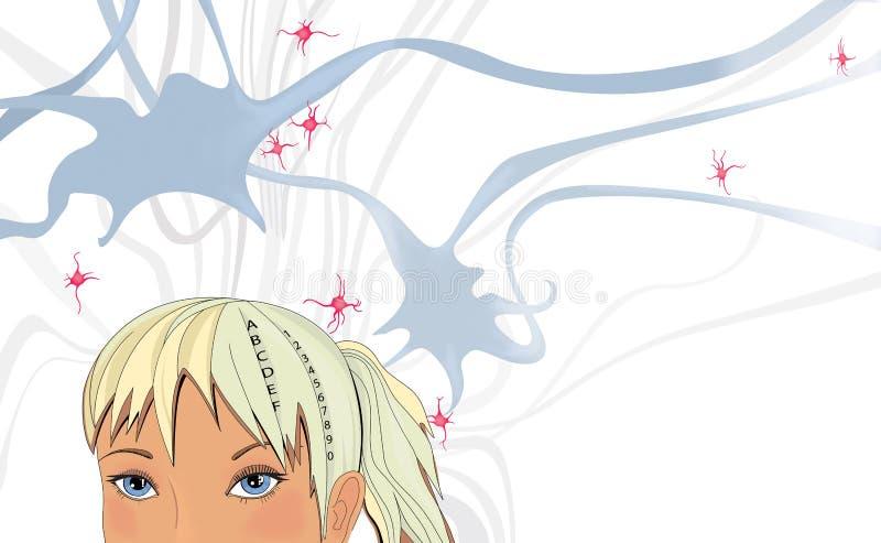 Niña rubia y su red neural Ilustración cómica Fondo ilustrativo ilustración del vector