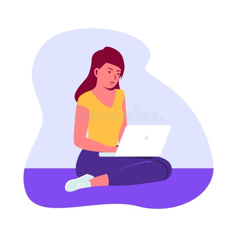 Niña sentada en el suelo con su laptop. El trabajo en casa es remoto. Mujer trabajadora remota. Ejemplo plano del vector stock de ilustración