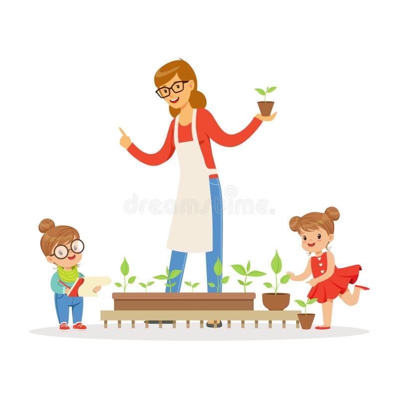 Niña y muchacho que ayudan a su profesor a cuidar para las plantas durante la lección de la botánica en vector de la historieta d ilustración del vector