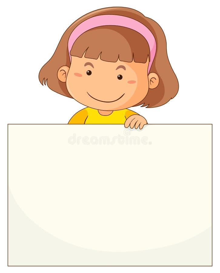 Niña y papel en blanco libre illustration