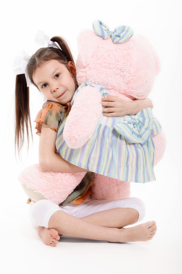 Niña y Teddy Bear imagen de archivo libre de regalías