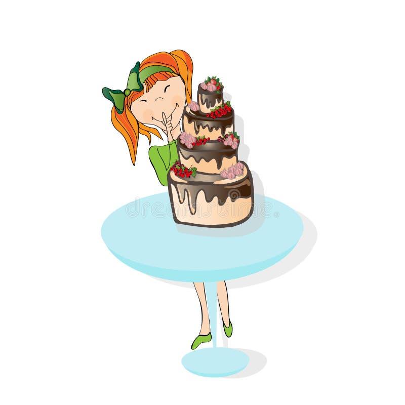 Niña y torta libre illustration