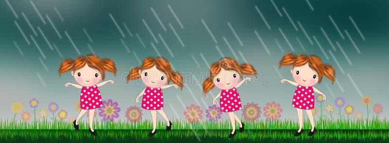 Niñas que bailan debajo de la lluvia stock de ilustración
