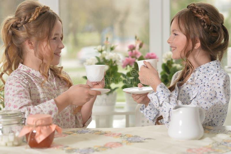 Niñas que beben té imagenes de archivo