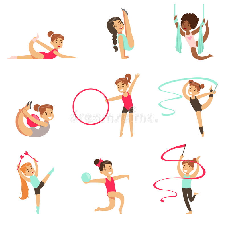 Niñas que hacen ejercicios de la gimnasia y de la acrobacia en el sistema de la clase de los profesionales futuros de los deporte ilustración del vector