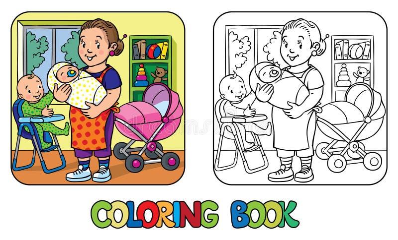 Niñera divertida con los niños Libro de colorante stock de ilustración