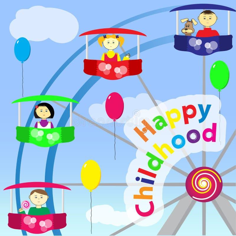 Niñez feliz ilustración del vector
