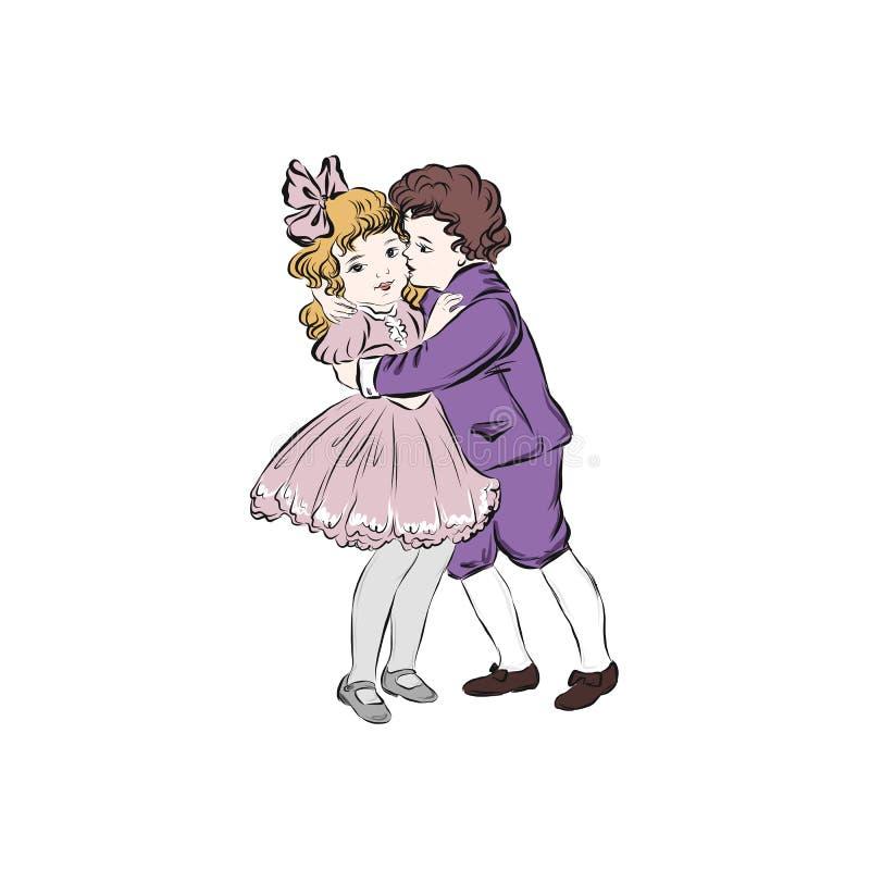 Niño abraza a una chica libre illustration