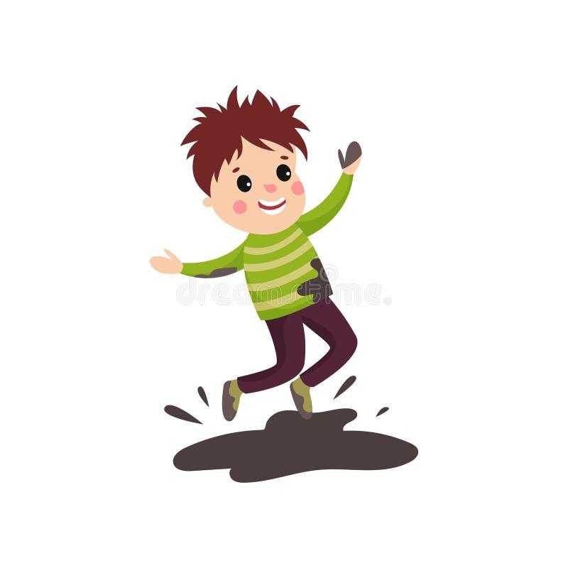 Niño activo en suéter manchado y los pantalones que saltan en charco de fango stock de ilustración