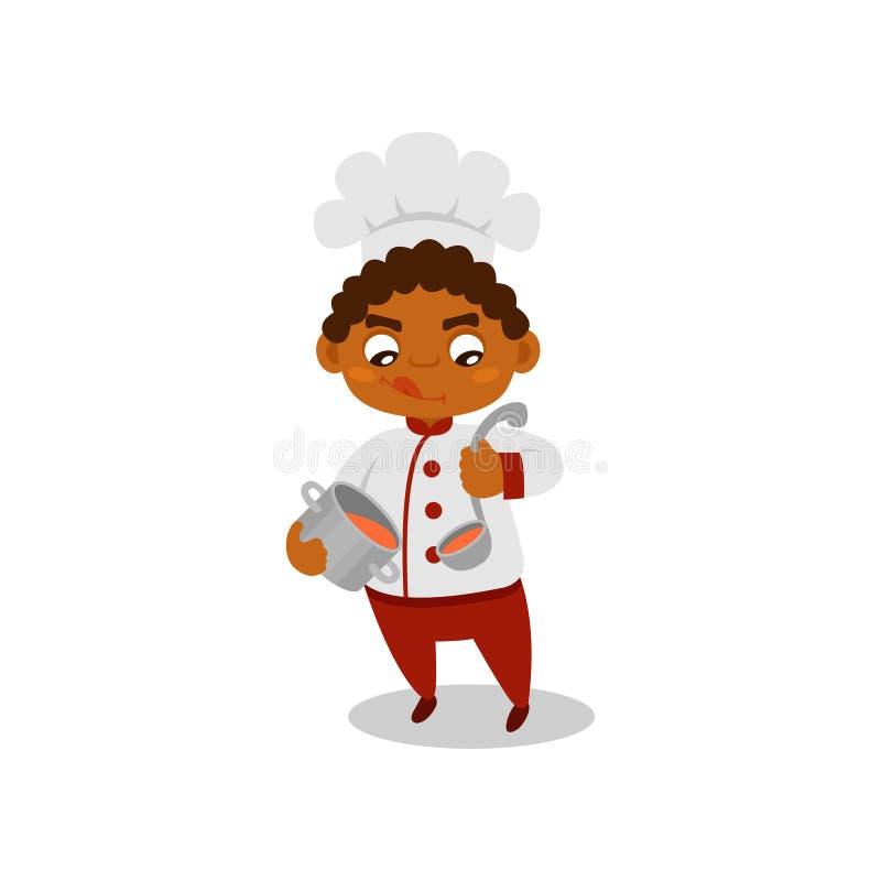 Niño afroamericano que sostiene la cuchara del cazo y de la cucharón con la sopa Niño pequeño en uniforme del cocinero Ejemplo pl stock de ilustración