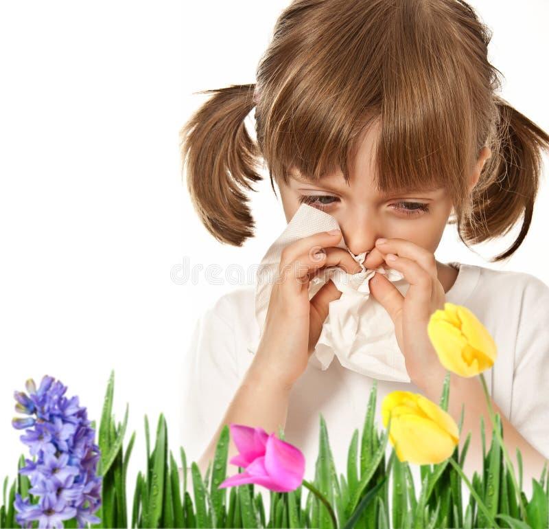 Niño alérgico fotos de archivo