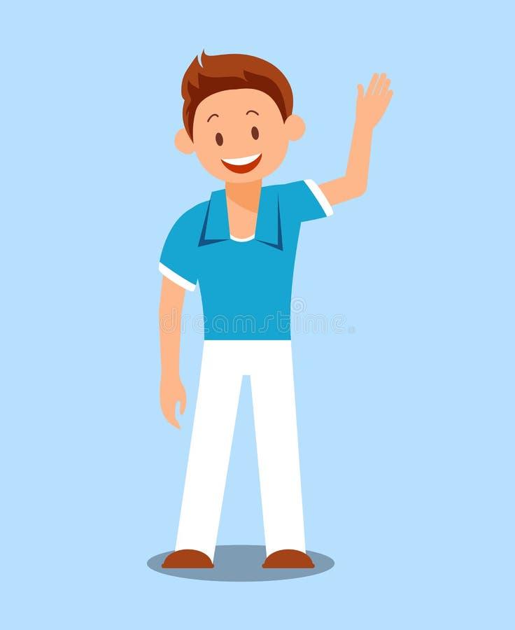 Niño alegre, ejemplo plano del vector del muchacho stock de ilustración