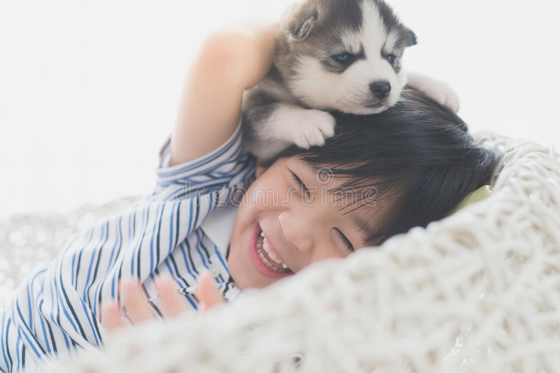 Niño asiático lindo que juega con el perrito del husky siberiano foto de archivo