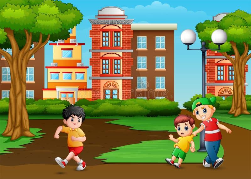 Niño asustado A del ejemplo que corre porque niño travieso molestado en el jardín ilustración del vector