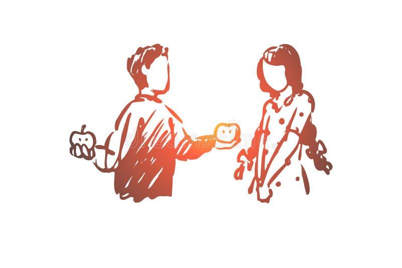 Niño, bueno, maneras, muchacho, manzana, concepto de la muchacha Vector aislado dibujado mano libre illustration