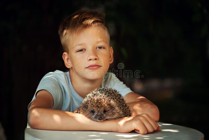 Niño con el animal doméstico Muchacho y erizo que miran la cámara imágenes de archivo libres de regalías