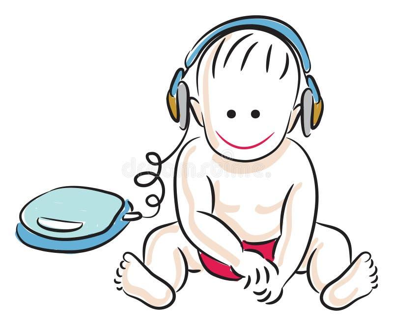 Niño con el auricular stock de ilustración
