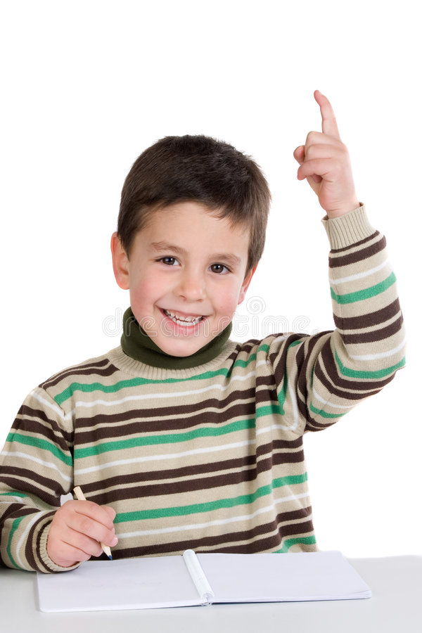 Niño con el cuaderno imagenes de archivo