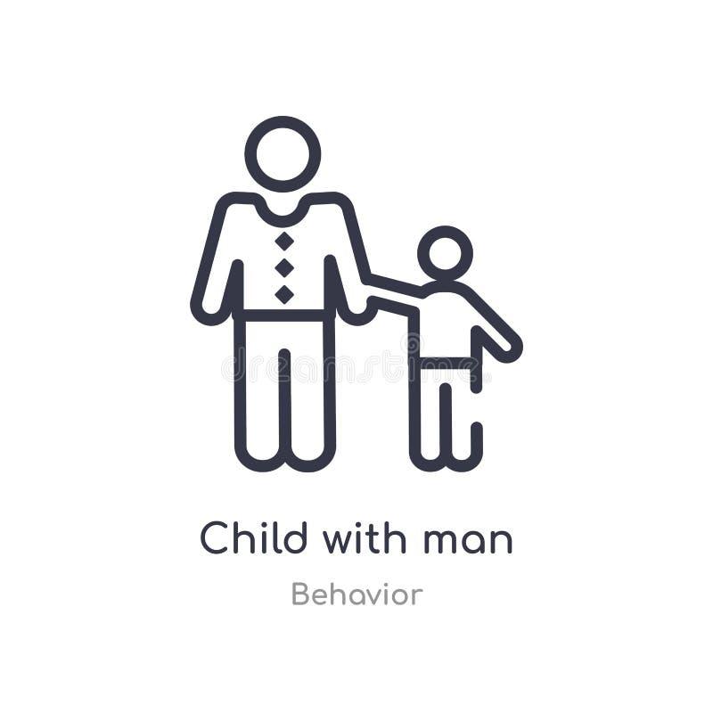 niño con el icono del esquema del hombre l?nea aislada ejemplo del vector de la colecci?n del comportamiento niño fino editable d ilustración del vector