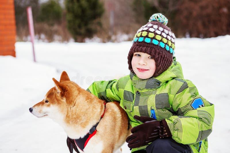 Niño con el perro de Shiba Inu al aire libre en el invierno imagen de archivo