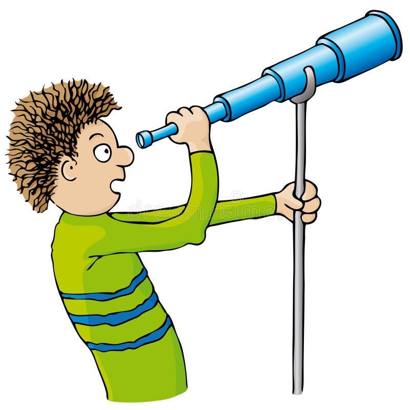 Niño con el telescopio ilustración del vector