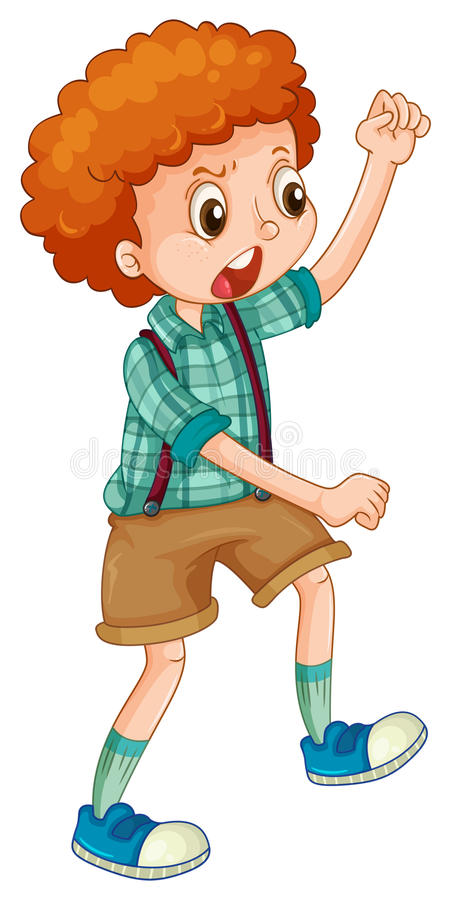 Niño con la acción que lucha stock de ilustración