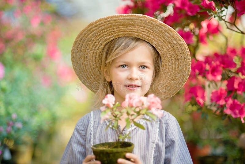 Niño con la cesta de la flor Muchacha que sostiene las flores rosadas foto de archivo