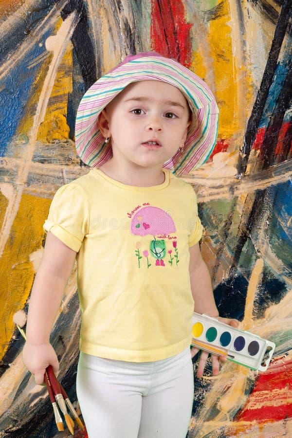 Niño con la pintura foto de archivo libre de regalías