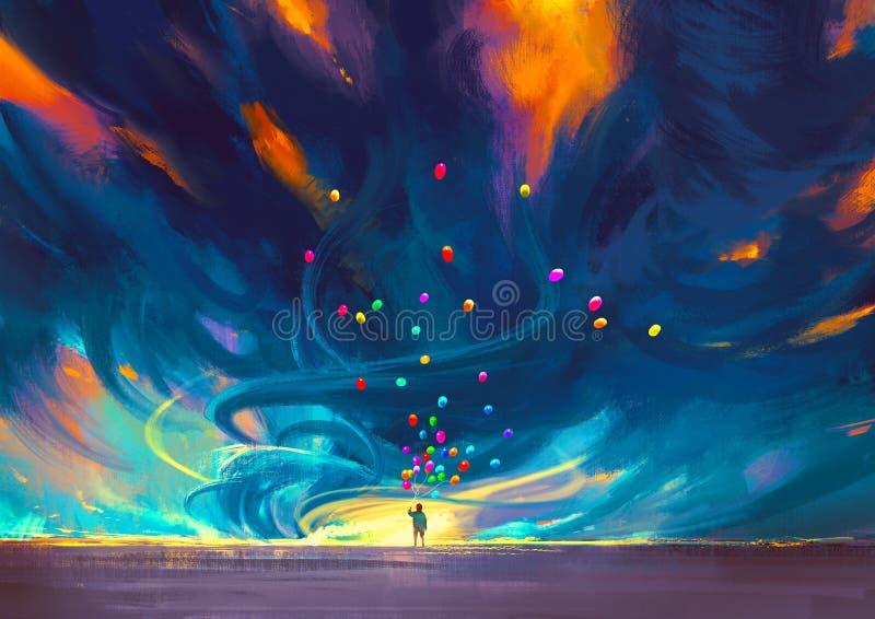 Niño con los globos que se colocan delante de tormenta ilustración del vector