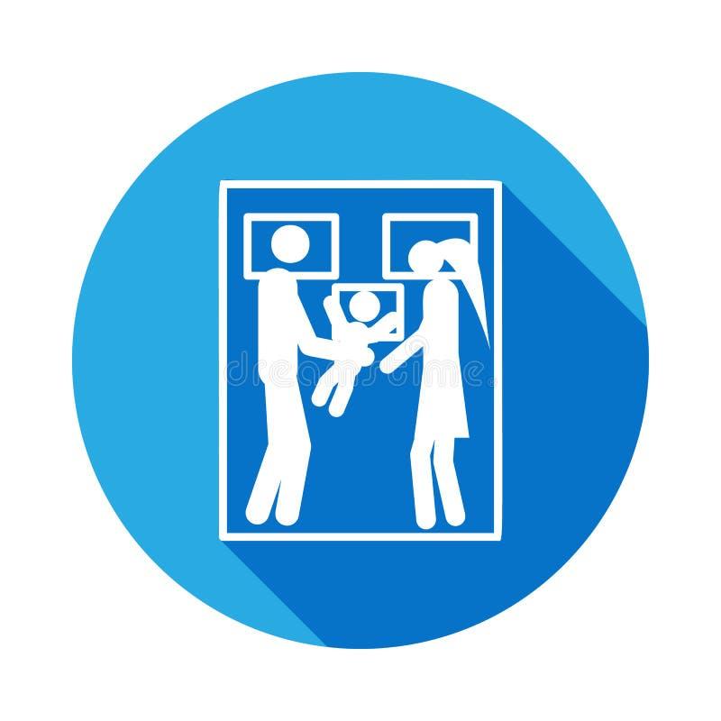 niño con los padres en icono de la cama Elemento del ejemplo casado vida de la gente Muestras e icono para los sitios web, web de libre illustration