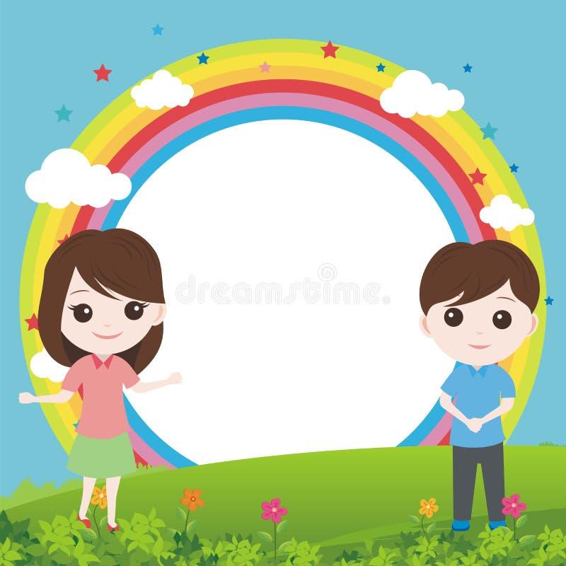 Niño con paisaje precioso y el arco iris ilustración del vector