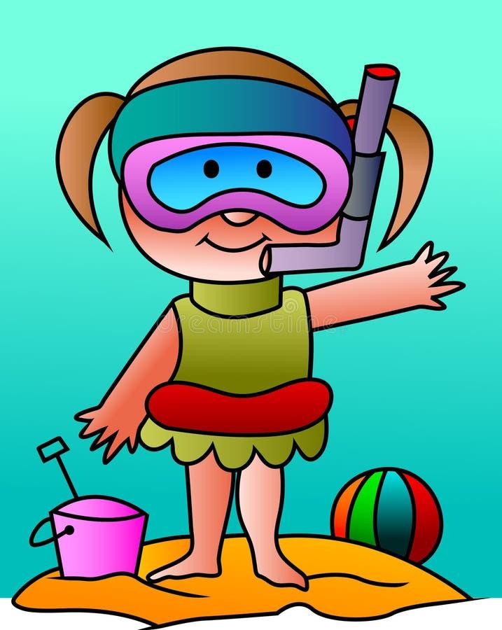 Niño con su equipo del tubo respirador stock de ilustración