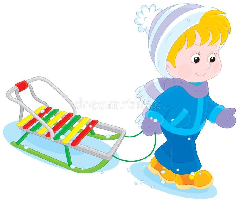 Niño con un trineo ilustración del vector