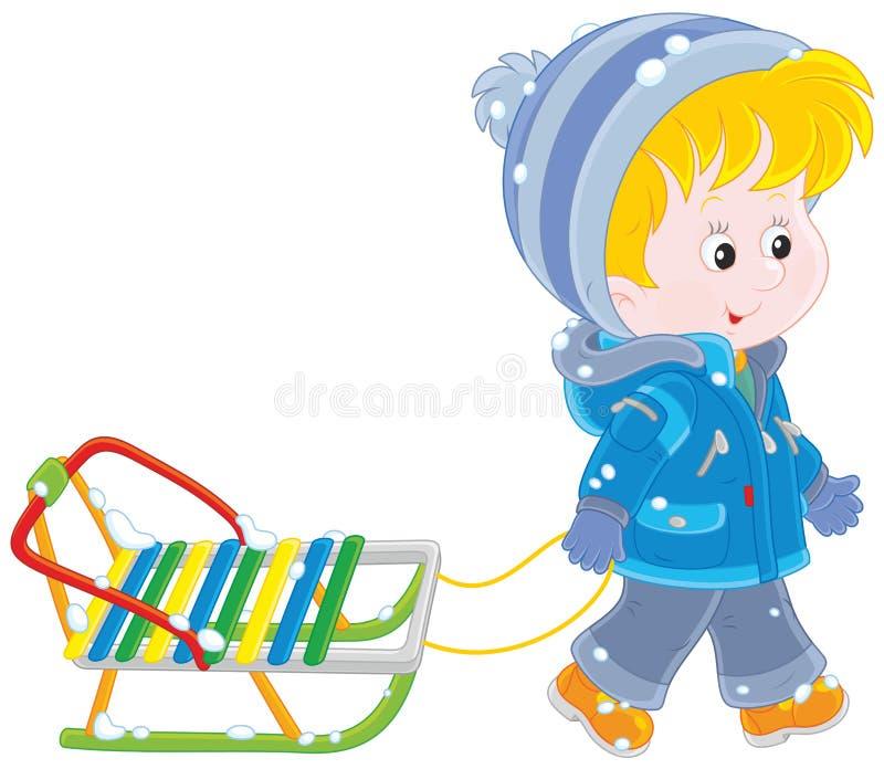 Niño con un trineo stock de ilustración
