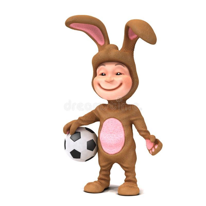 Download Niño 3d En El Traje Del Conejito Que Sostiene Un Balón De Fútbol Stock de ilustración - Ilustración de pascua, conejito: 42433286