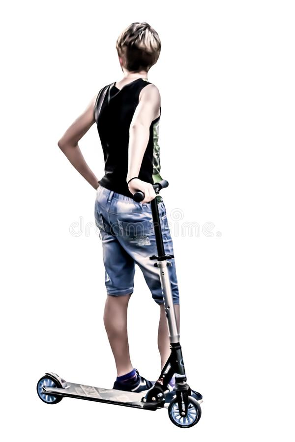 Niño de detrás con pantalones cortos y tanque, diseño creado para el PC a partir de fotos fotografía de archivo libre de regalías
