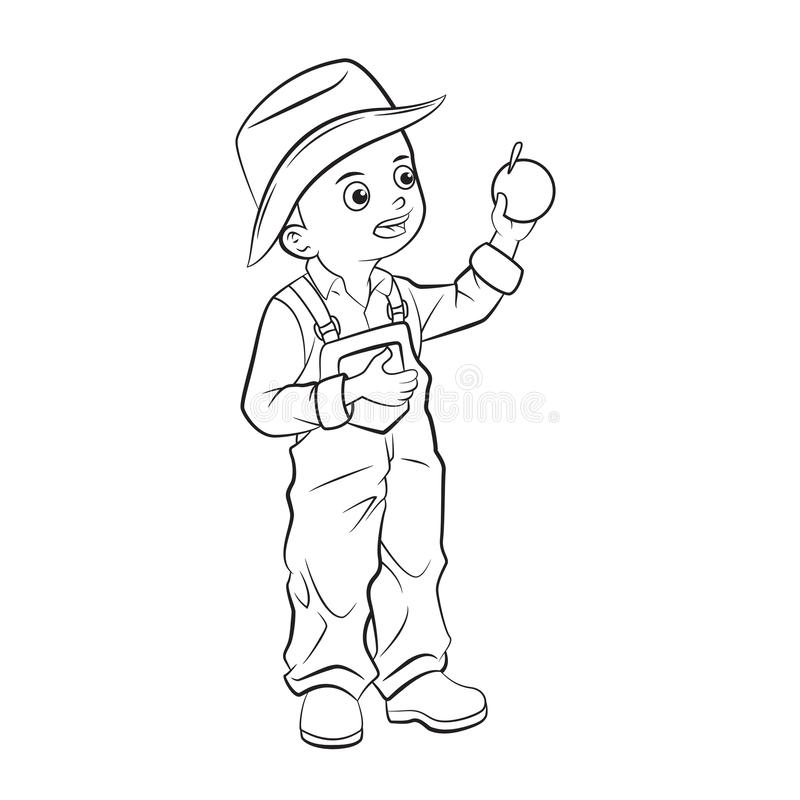 Niño de la historieta que escoge naranjas libre illustration