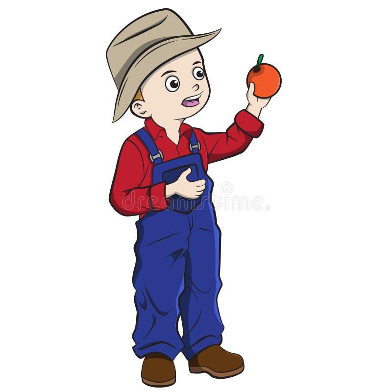 Niño de la historieta que escoge naranjas stock de ilustración