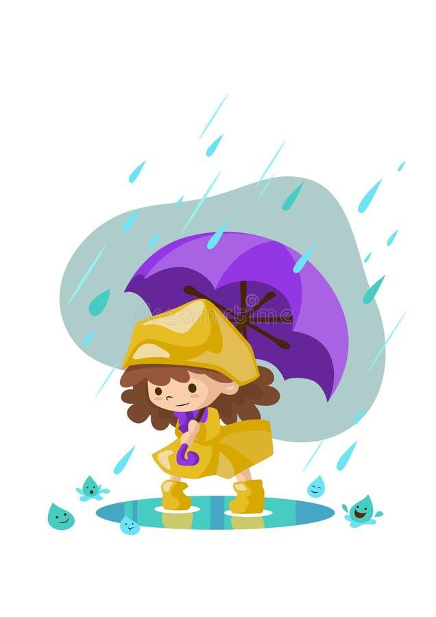 Niño de la lluvia stock de ilustración