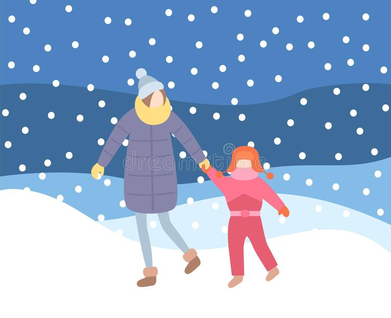 Niño de la madre que camina en la igualación de invierno de la ventisca ilustración del vector
