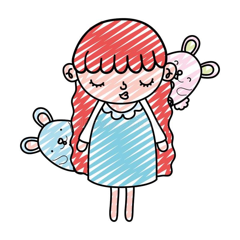 Niño de la muchacha de la belleza del garabato con los animales de los ratones libre illustration