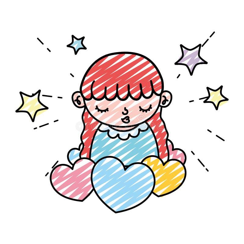 Niño de la muchacha de la belleza del garabato con los corazones y las estrellas libre illustration