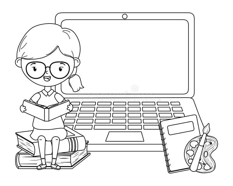Niño de la muchacha del diseño de la escuela y del ordenador portátil stock de ilustración