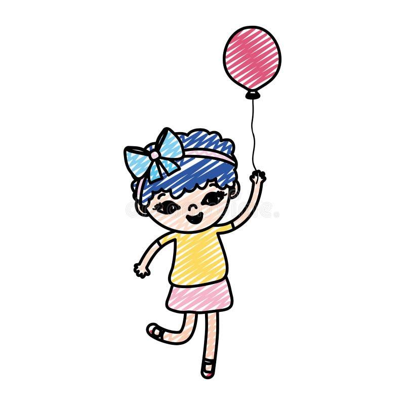 Niño de la muchacha del garabato con el pelo corto y el globo rizados ilustración del vector